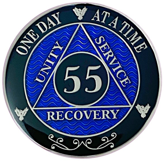 55 Year AA Coin Silver Color Plated-Medallion, Recovery Chip, 12 Step Token, Alcoholics anonymous coin