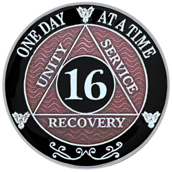 16 Year AA Coin Silver Color Plated Medallion, Recovery Chip, 12 Step Token, Alcoholics anonymous coin