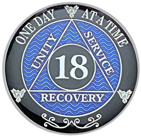 18 Year AA Coin Silver Color Plated Medallion, Recovery Chip, 12 Step Token, Alcoholics anonymous coin