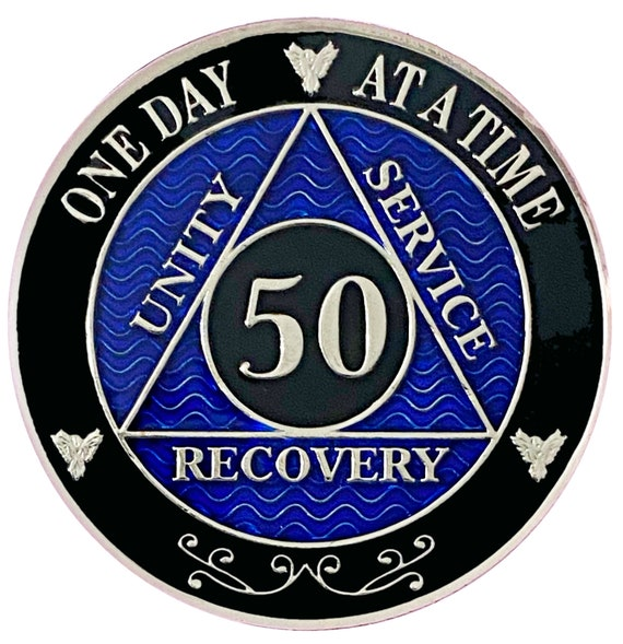 50 Year AA Coin Silver Color Plated-Medallion, Recovery Chip, 12 Step Token, Alcoholics anonymous coin