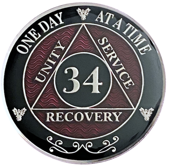 34 Year AA Coin Silver Color Plated-Medallion, Recovery Chip, 12 Step Token, Alcoholics anonymous coin