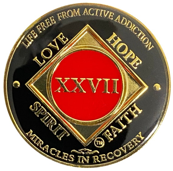 NA 27 Year Gold Color Plated-Medallion, Narcotics Anonymous Coin, Recovery Chip