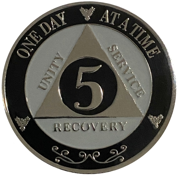 "AA XL 5 Year Silver Color Plated Coin, Large 45mm 1.75"" Alcoholics Anonymous Medallion"