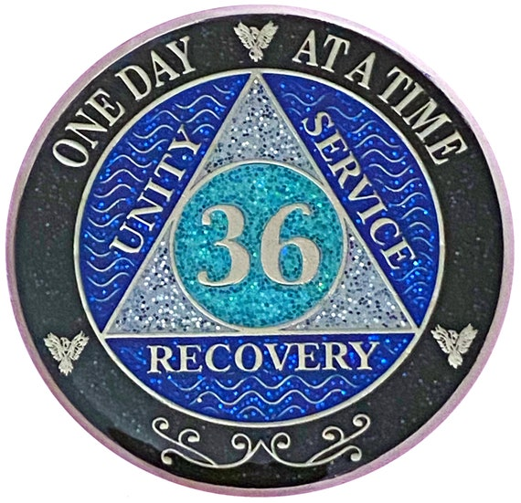 AA 36 Year Silver Color Plated Glitter Coin, Blue, Silver, Black Rainbow Glitter Alcoholics Anonymous Medallion
