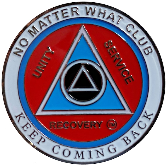 """AA Recovery """"No Matter What Club"""" Medallion, Alcoholics Anonymous Sobriety Coin"""