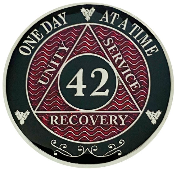 AA 42 Years Silver Color Plated Coin, Alcoholics Anonymous Medallion