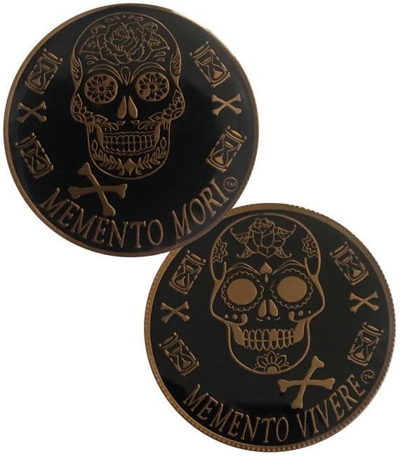 Gold Color Plated Memento Mori, Dia de Los Muertos, Day of The Dead Coin