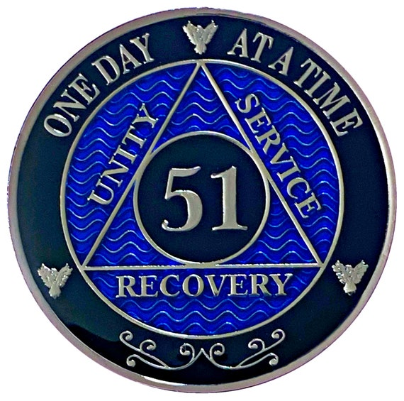 51 Year AA Coin Silver Color Plated-Medallion, Recovery Chip, 12 Step Token, Alcoholics anonymous coin