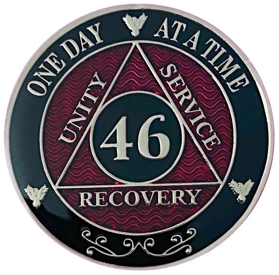 46 Year AA Coin Silver Color Plated-Medallion, Recovery Chip, 12 Step Token, Alcoholics anonymous coin