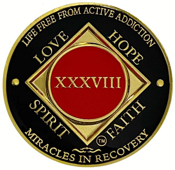 NA 38 Year Gold Color Plated Coin, Narcotics Anonymous Medallion