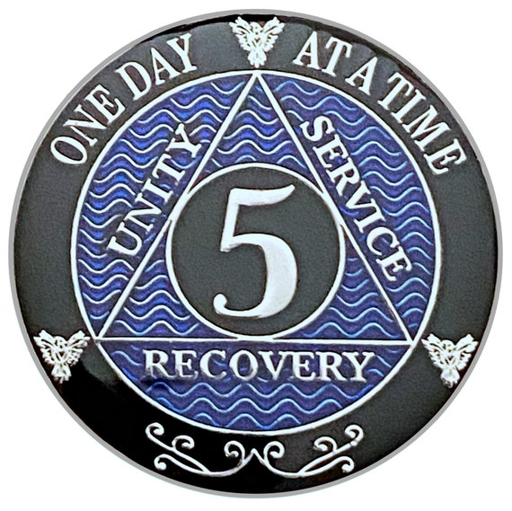 5 Year AA Coin Silver Color Plated-Medallion, Recovery Chip, 12 Step Token, Alcoholics anonymous coin