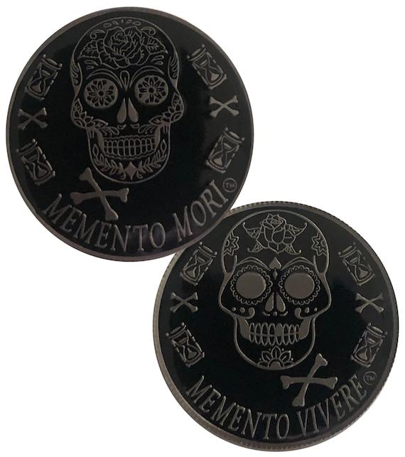 Silver Color Plated Memento Mori, Dia de Los Muertos, Day of The Dead Coin