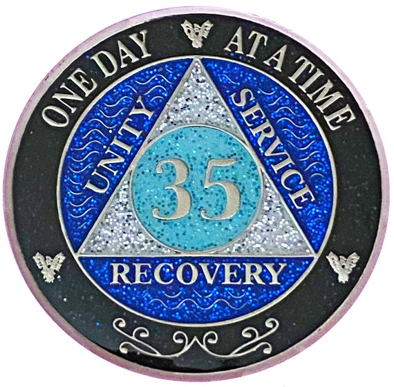 AA 35 Year Silver Color Plated Glitter Coin, Blue, Silver, Black Rainbow Glitter Alcoholics Anonymous Medallion