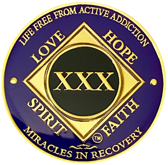 NA 30 Year Gold Color Plated-Medallion, Narcotics Anonymous Coin, Recovery Chip