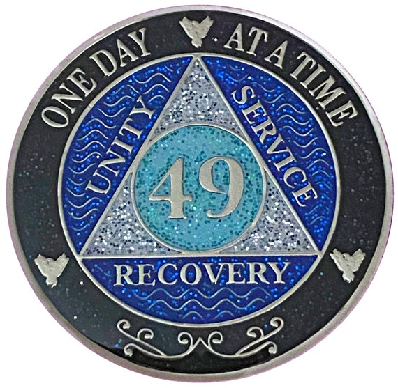 AA 49 Year Silver Color Plated Glitter Coin, Blue, Silver, Black Rainbow Glitter Alcoholics Anonymous Medallion