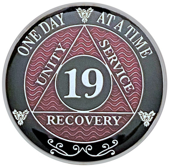19 Year AA Coin Silver Color Plated Medallion, Recovery Chip, 12 Step Token, Alcoholics anonymous coin