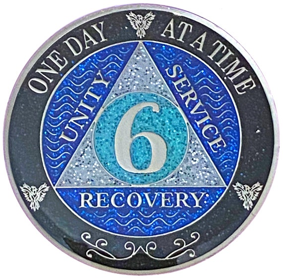 AA 6 Year Silver Color Plated Glitter Coin, Blue, Silver, Black Rainbow Glitter Alcoholics Anonymous Medallion