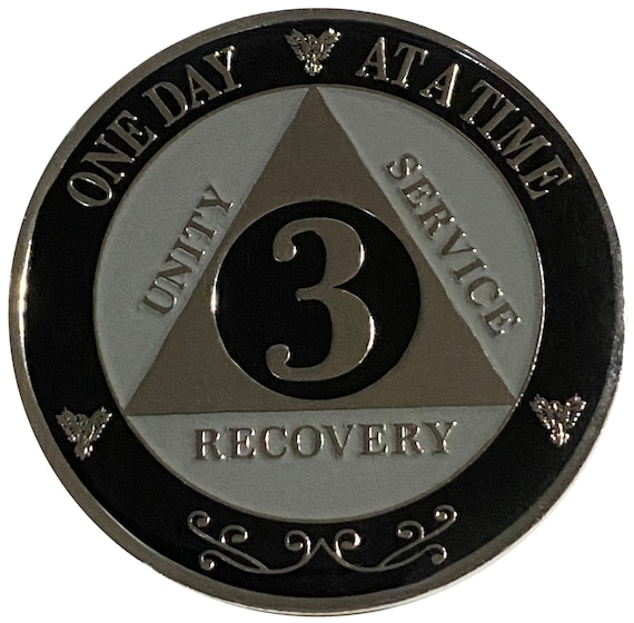 "AA XL 3 Year Silver Color Plated Coin, Large 45mm 1.75"" Alcoholics Anonymous Medallion"