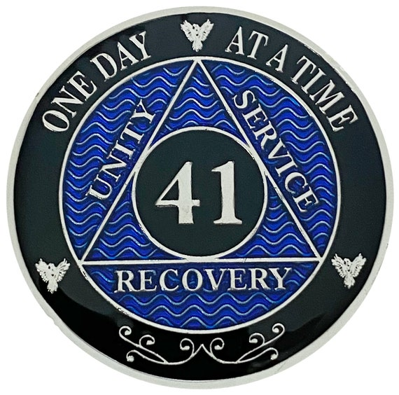 AA 41 Years Silver Color Plated Coin, Alcoholics Anonymous Medallion
