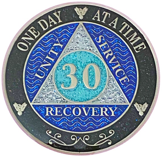 AA 30 Year Silver Color Plated Glitter Coin, Blue, Silver, Black Rainbow Glitter Alcoholics Anonymous Medallion
