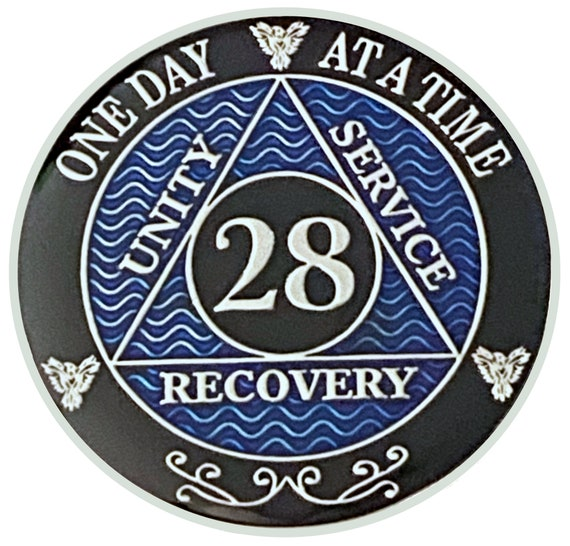 28 Year AA Coin Silver Color Plated Medallion, Recovery Chip, 12 Step Token, Alcoholics anonymous coin