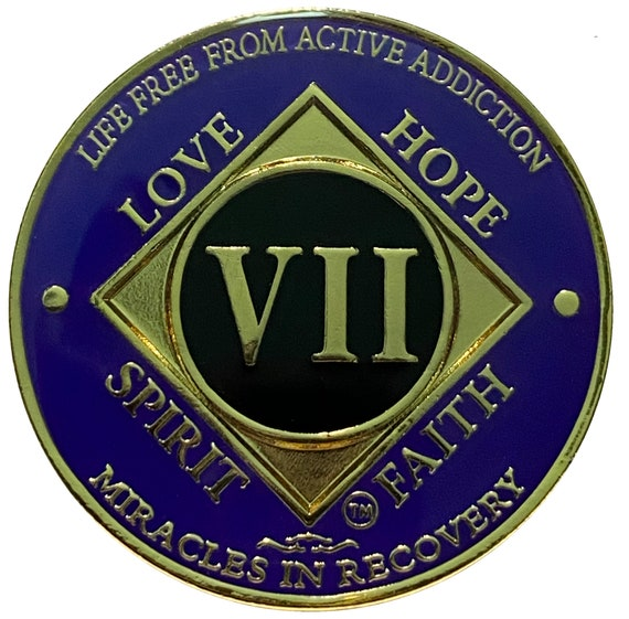 NA 7 Year Gold Color Plated Coin, Narcotics Anonymous Medallion