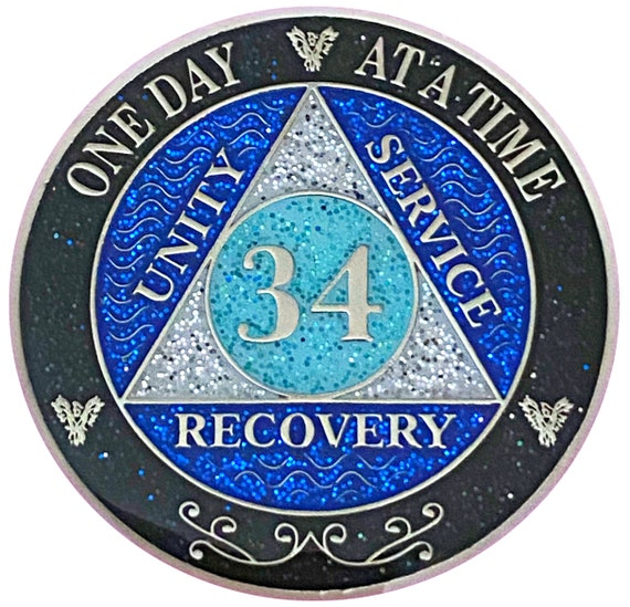 AA 34 Year Silver Color Plated Glitter Coin, Blue, Silver, Black Rainbow Glitter Alcoholics Anonymous Medallion
