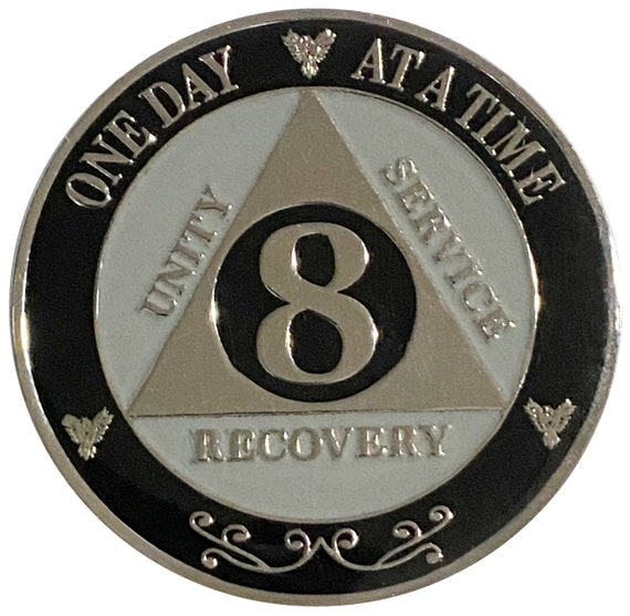 "AA XL 8 Year Silver Color Plated Coin, Large 45mm 1.75"" Alcoholics Anonymous Medallion"