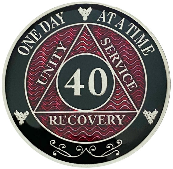 AA 40 Years Silver Color Plated Coin, Alcoholics Anonymous Medallion