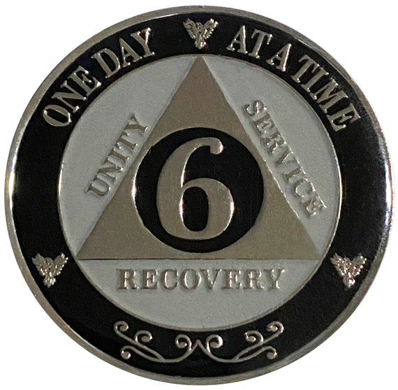 "AA XL 6 Year Silver Color Plated Coin, Large 45mm 1.75"" Alcoholics Anonymous Medallion"