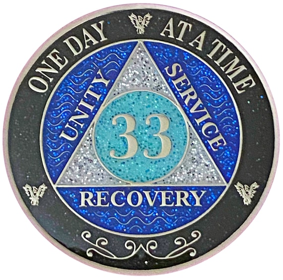 AA 33 Year Silver Color Plated Glitter Coin, Blue, Silver, Black Rainbow Glitter Alcoholics Anonymous Medallion