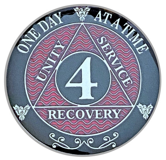 4 Year AA Coin Silver Color Plated-Medallion, Recovery Chip, 12 Step Token, Alcoholics anonymous coin