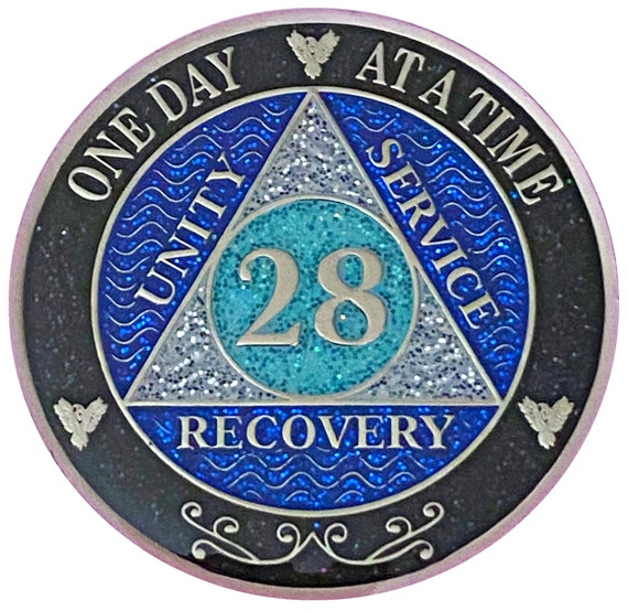 AA 28 Year Silver Color Plated Glitter Coin, Blue, Silver, Black Rainbow Glitter Alcoholics Anonymous Medallion