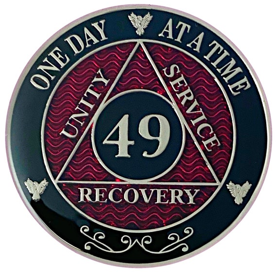 49 Year AA Coin Silver Color Plated-Medallion, Recovery Chip, 12 Step Token, Alcoholics anonymous coin