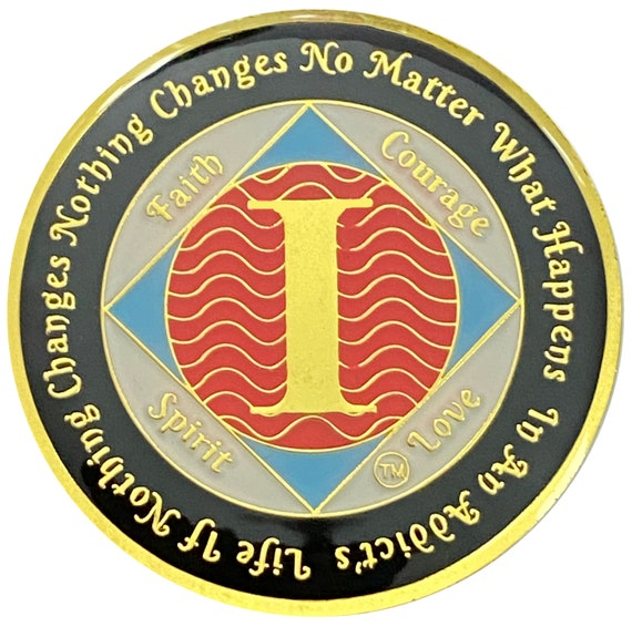 NA 1 Year Gold Color Plated Coin, Narcotics Anonymous Medallion