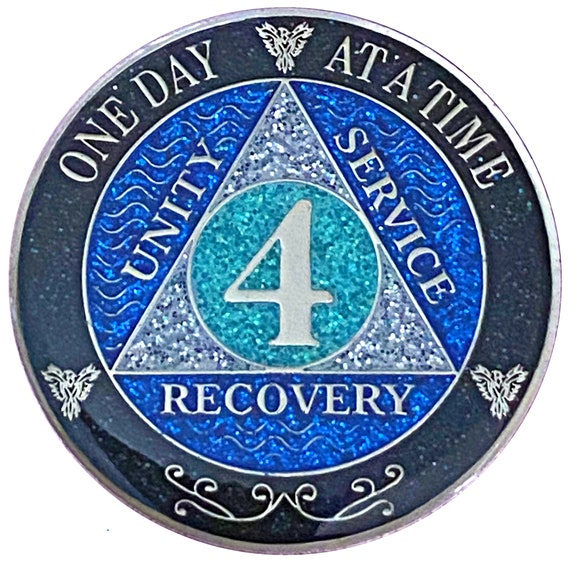 AA 4 Year Silver Color Plated Glitter Coin, Blue, Silver, Black Rainbow Glitter Alcoholics Anonymous Medallion