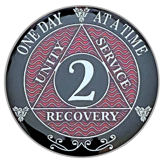 2 Year AA Coin Silver Color Plated Medallion, Recovery Chip, 12 Step Token, Alcoholics anonymous coin