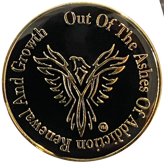 "Recovery Coin Gold Color Plated Phoenix Bird, Token, Medallion "" out of the ashes of addiction renewal and growth"" serenity prayer on back"