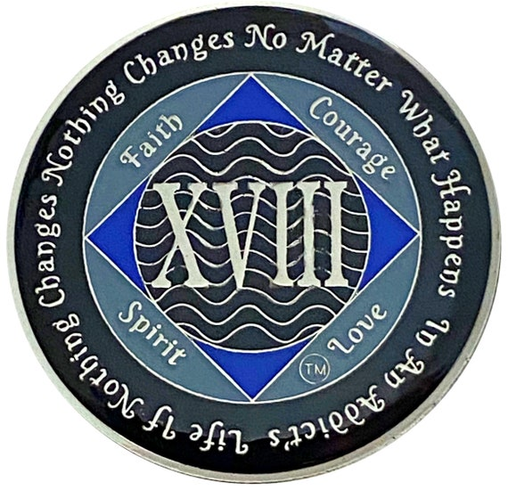 NA 18 Year Silver Color Plated Coin, Narcotics Anonymous Medallion