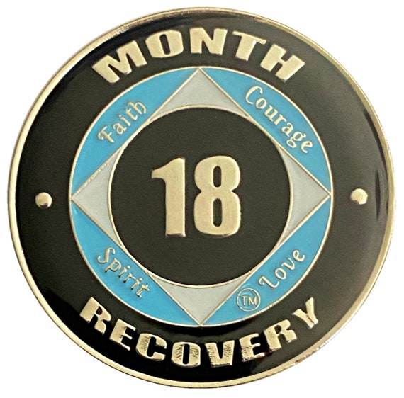 NA Coin, 18 Month Silver Color Plated Recovery Medallion, Token, Narcotics Anonymous