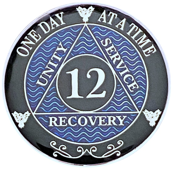 12 Year AA Coin Silver Color Plated Medallion, Recovery Chip, 12 Step Token, Alcoholics anonymous coin