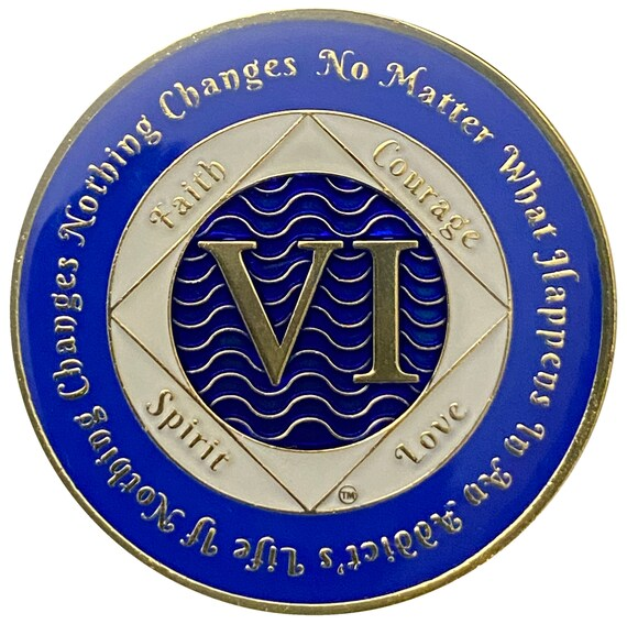 NA 6 Year Gold Color Plated Coin, Narcotics Anonymous Medallion