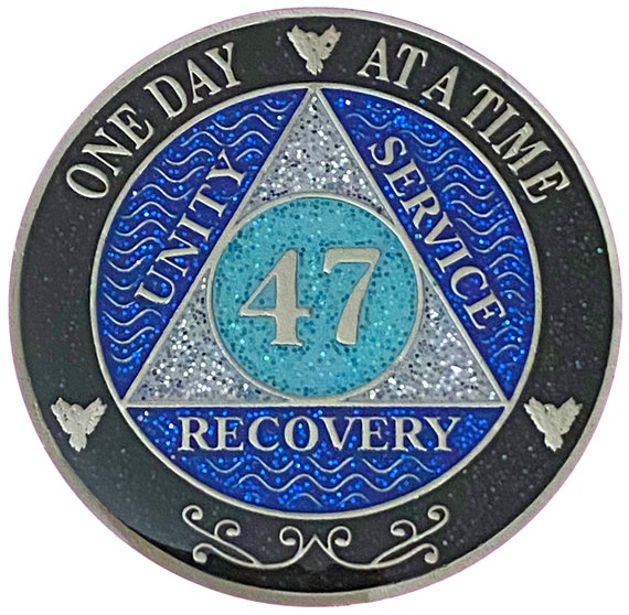AA 47 Year Silver Color Plated Glitter Coin, Blue, Silver, Black Rainbow Glitter Alcoholics Anonymous Medallion