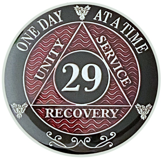 29 Year AA Coin Silver Color Plated Medallion, Recovery Chip, 12 Step Token, Alcoholics anonymous coin