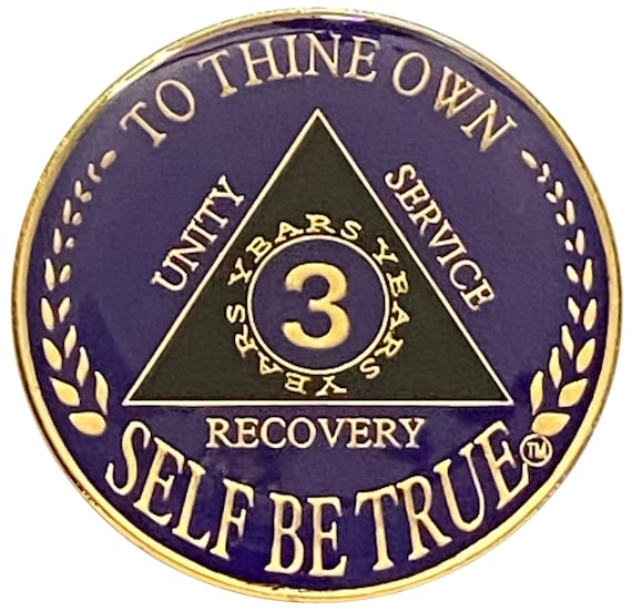 3 Year AA Coin Gold Color Plated-Medallion, Recovery Chip, 12 Step Token, Alcoholics anonymous coin