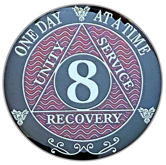 8 Year AA Coin Silver Color Plated-Medallion, Recovery Chip, 12 Step Token, Alcoholics anonymous coin