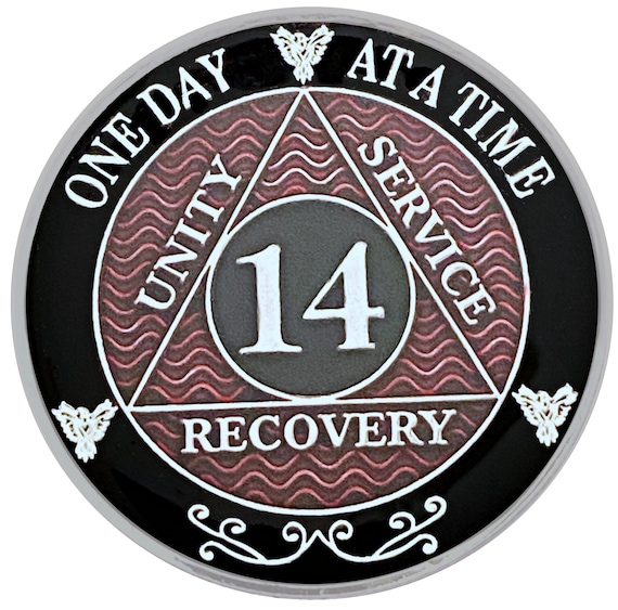 14 Year AA Coin Silver Color Plated Medallion, Recovery Chip, 12 Step Token, Alcoholics anonymous coin