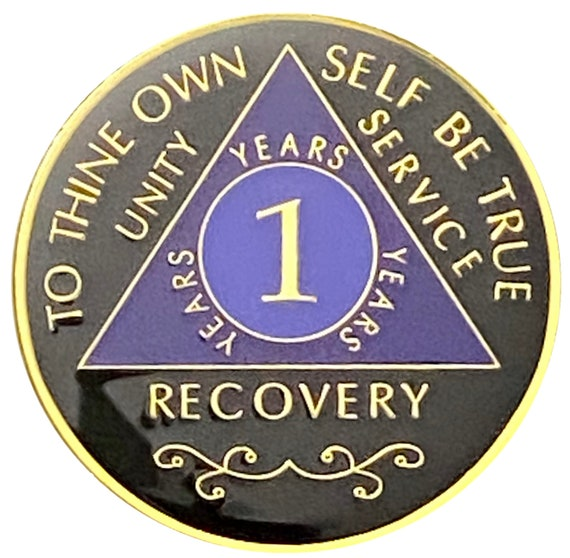 AA 1 Year Gold Color Plated Coin, Alcoholics Anonymous Medallion
