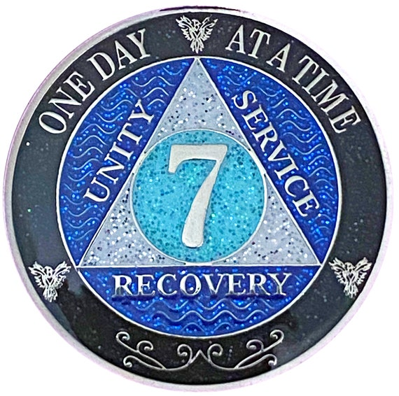 AA 7 Year Silver Color Plated Glitter Coin, Blue, Silver, Black Rainbow Glitter Alcoholics Anonymous Medallion