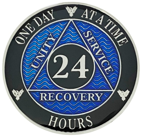 AA 24 Hours Silver Color Plated Coin, Alcoholics Anonymous Medallion